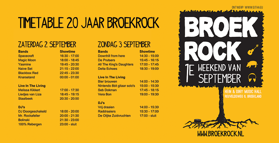 Timetable Broekrock 20 jaar! 2 & 3 september 2017